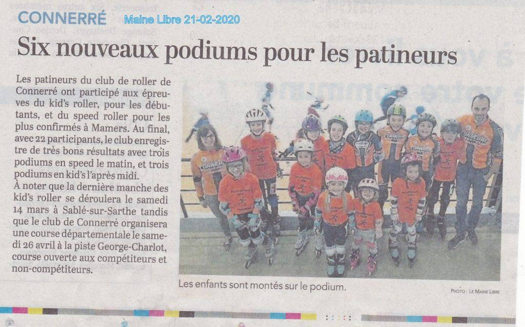 Article du Maine Libre sur les patineurs de Connerré à Mamers